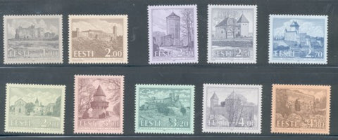 Estonia Scott  244-53 1993-97  Castles stamp set mint NH