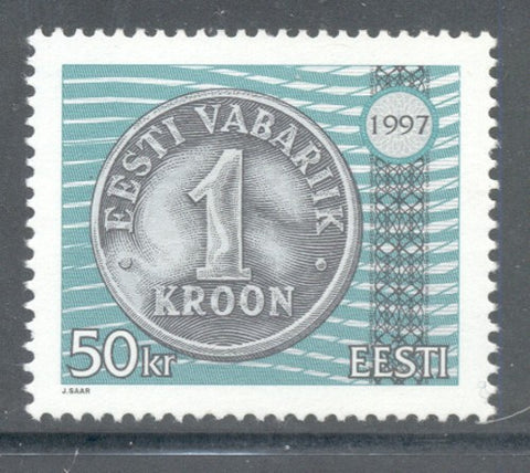 Estonia Scott  327 1997  50 kr 1 kr coin  stamp mint NH