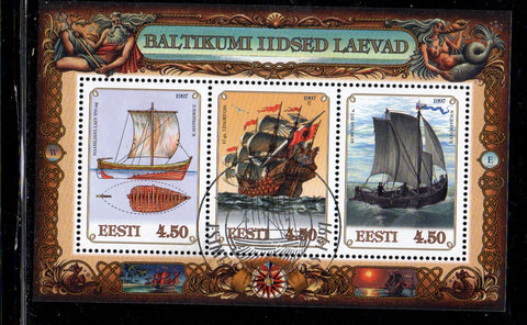 Estonia Scott  323 1997 Old Baltic Ships stamp sheet used