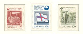 Faroe Islands Sc 21-3 1976 Postal Independence stamp set mint NH