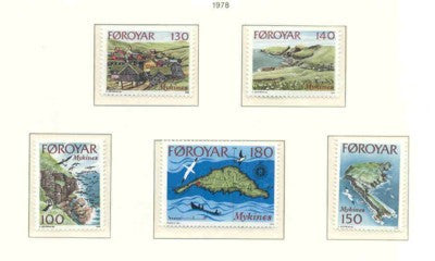 Faroe Islands Scott 31-5 1978 Mykines Island stamp set mint NH
