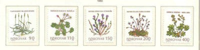 Faroe Islands Scott 48-52 1980 Wildflowers stamp set mint NH