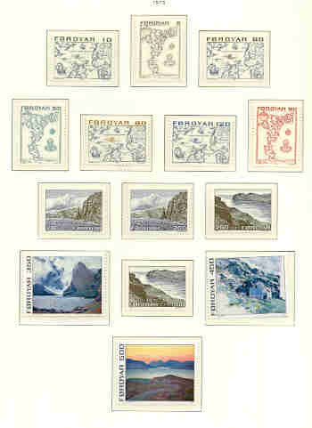 Faroe Islands Sc 7-20 1975 maps, views long stamp set mint NH