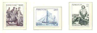 Faroe Islands Scott 112-14 1984 Fishing Vessel & Fishermen stamp set mint NH