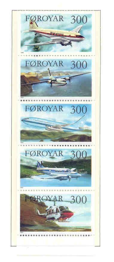 Faroe Islands Scott 134-8 1985 Passenger Aviation stamp set mint NH