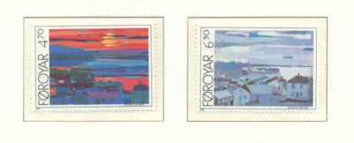 Faroe Islands Scott  166-7 1987 Heinesen Collages stamp set mint NH