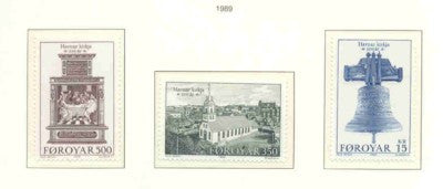 Faroe Islands Scott  186-9 1989 Havnar Church stamp set mint NH