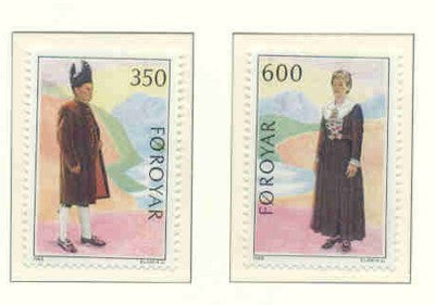 Faroe Islands Scott  189-90 1989 Folk Costumes stamp set mint NH