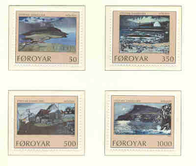 Faroe  Islands Scott 212-15 1990 Daniellsen Paintings stamp set mint NH
