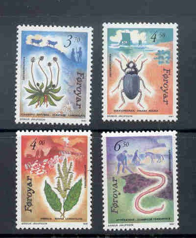 Faroe  Islands Scott 216-19 1991 Flora & Fauna stamp set mint NH
