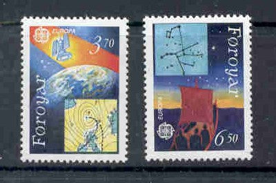 Faroe  Islands Scott 220-1 1991 Europa Space stamp set mint NH