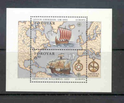 Faroe Islands Scott 238 1992 Eriksson Columbus stamp sheet mint NH