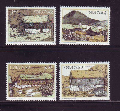 Faroe Islands Scott 243-6 1992 Traditional Houses stamp set mint NH
