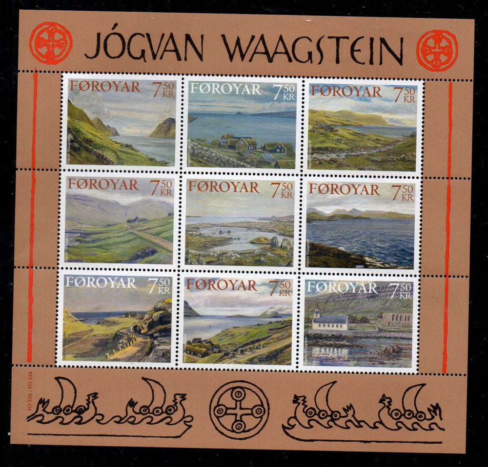 Faroe Islands Scott 462 2005 Waagstein Paintings stamp sheet mint NH
