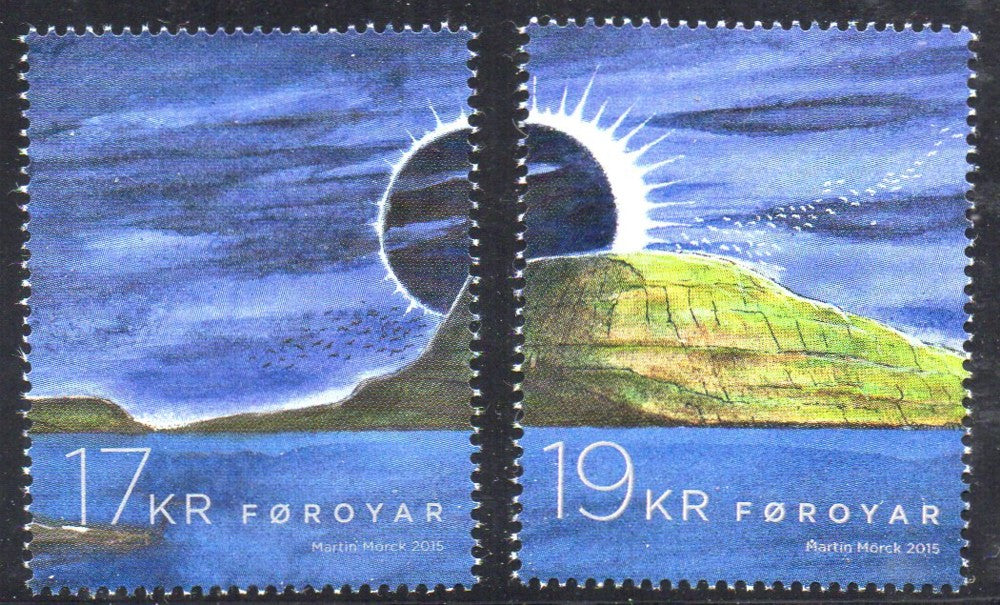 Faroe Islands Scott 639-40 2015 Solar Eclipse stamp set mint NH