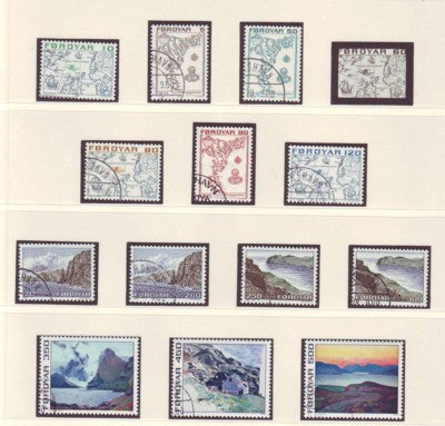 Faroe Islands Sc 7-20 1975 maps, views long stamp set used