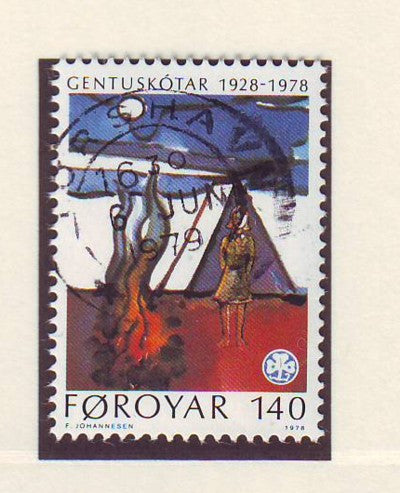 Faroe Islands Scott 41 1978 50th Anniversary Girl Guides stamp used