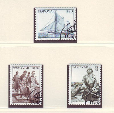 Faroe Islands Scott 112-14 1984 Fishing Vessel & Fishermen stamp set used
