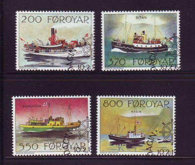 Faroe  Islands Scott 232-5 1992 Mail Ships stamp set used