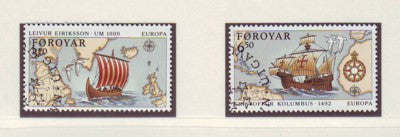 Faroe  Islands Scott 236-7 1992 Europa Columbus Eriksson stamp set used