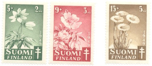 Finland Scott  B98-100 1949 Anti TB Flowers stamp set  mint NH