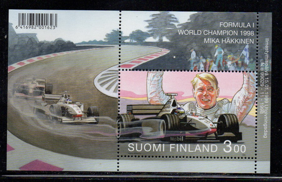 Finland Scott  1098 1999 Mika Hakkinen Racing stamp souvenir sheet mint NH