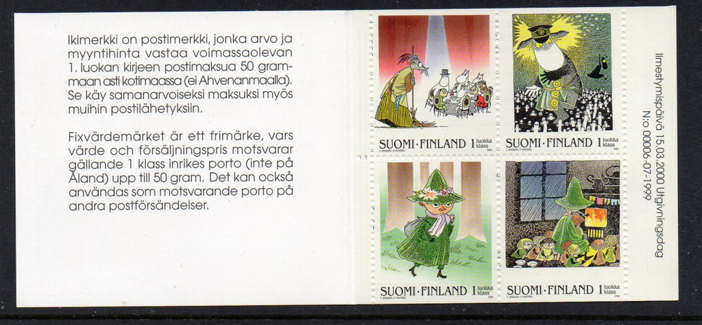 Finland Scott 1127 2000 Moomin stamp booklet mint NH