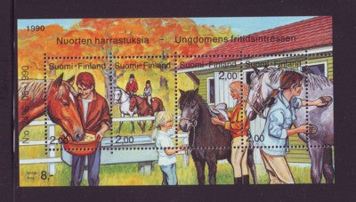 Finland Scott 826 1990 Horses stamp souvenir sheet mint NH