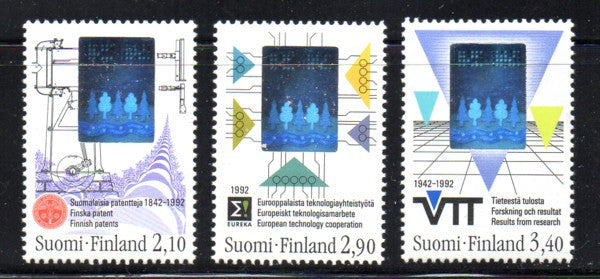 Finland Scott  886-8 1992  Technology stamp set mint NH