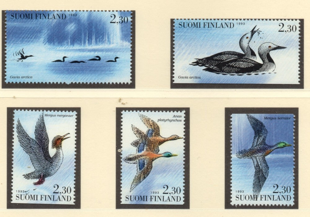 Finland Scott  921-5 1993  Water Birds stamp set mint NH