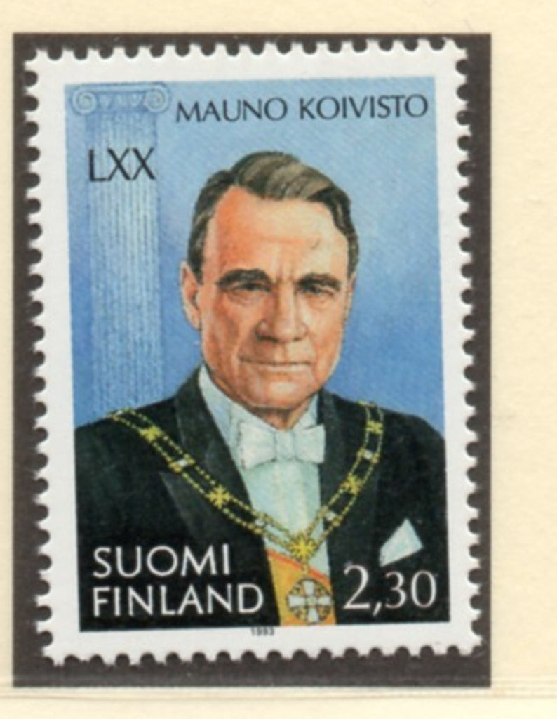 Finland Scott  930 1993  70th Birthday President stamp mint NH