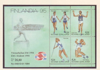 Finland Scott 939 1994 Track & Field Championships stamp souvenir sheet mint NH