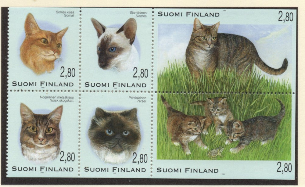 Finland Scott  972-7 1995 Cats stamp set mint NH