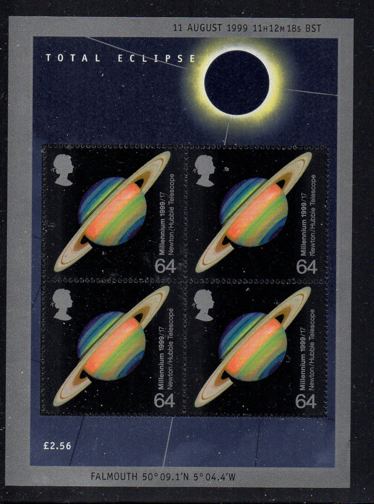Great Britain Scott 1870b 1999 Space Eclipse stamp sheet mint NH