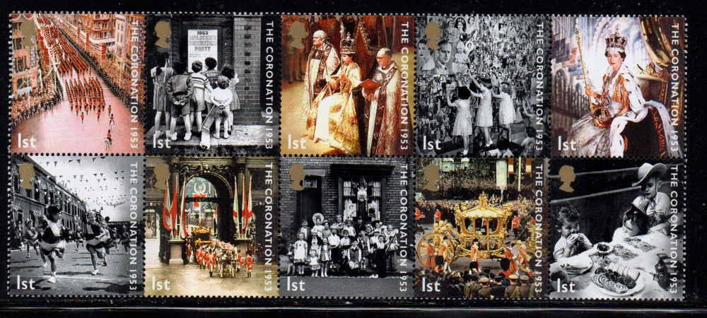 Great Britain Scott  2136a 2003 50th Anniversary Coronation stamp block mint NH