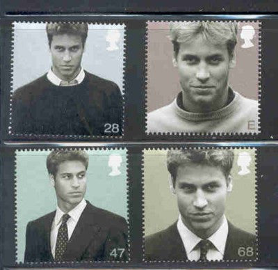 Great Britain Scott  2137-40 2003  21st Birthday Prince William stamp set mint NH