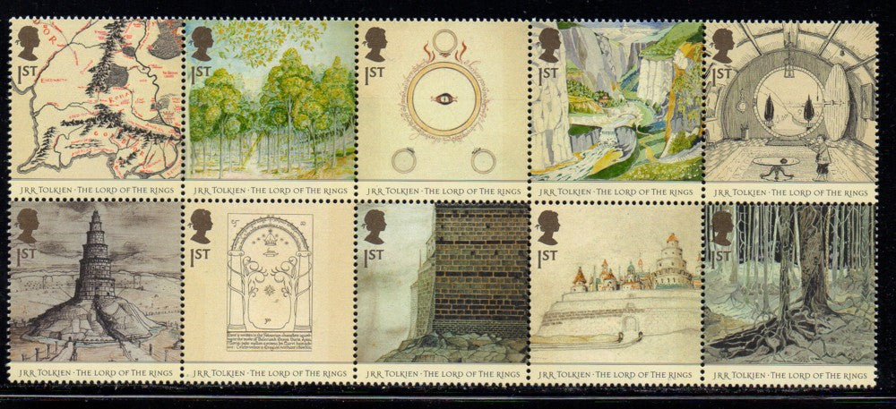 Great Britain Scott  2192a 50th Anniversary Lord of the Rings stamp block mint NH