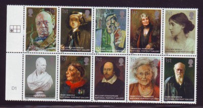 Great Britain Scott  2393a 2006 Portrait Gallery stamp block of 10 mint NH
