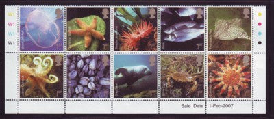 Great Britain Scott  2437a 2007 Marine Life stamp block of 10 mint NH