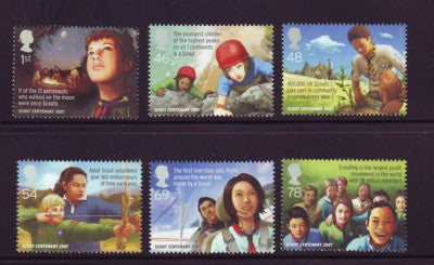 Great Britain Scott  2492-7 2007 100th Anniversary Scouting stamp set mint NH