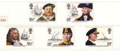 Great Britain Scott  991-5 1982 Naval Leaders & Ships stamp set mint NH