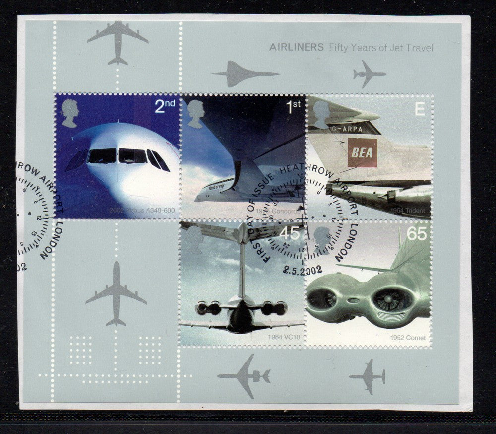Great Britain Scott  2052a 2002 Jet Airplanes stamp sheet used
