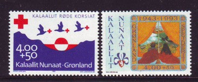 Greenland Scott  B17-8 1993 Red Croos Boy Scouts charity stamp set mint NH
