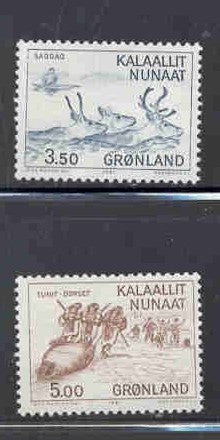 Greenland Scott  146-7 1981 Hunting stamp set mint NH