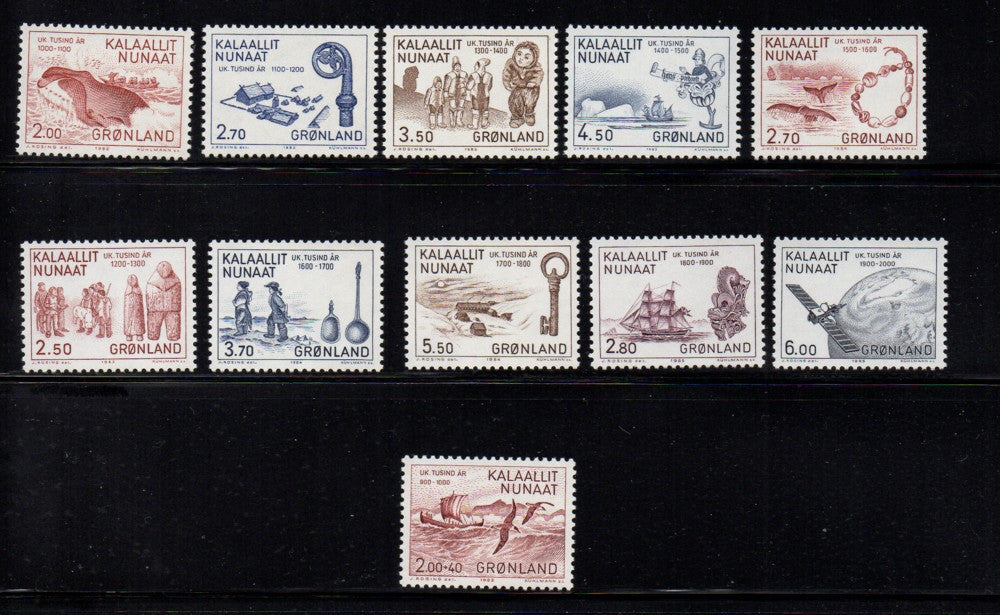 Greenland Scott 148-57, B10 1982-85 History stamp set mint NH