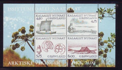 Greenland Scott 354a 1999 Arctic Vikings stamp souvenir sheet mint NH