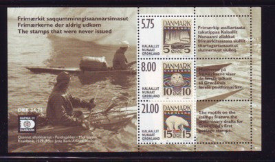 Greenland Scott 389a 2001 old stamp designs stamp souvenir sheet mint NH