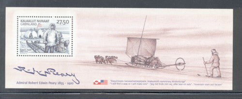 Greenland Scott 462a 2005 Admiral Peary stamp souvenir sheet mint NH