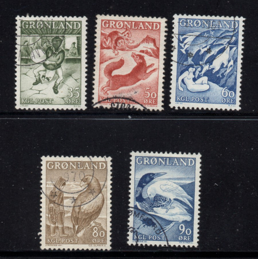 Greenland Scott  41-45 1957-69 Legends stamp set used