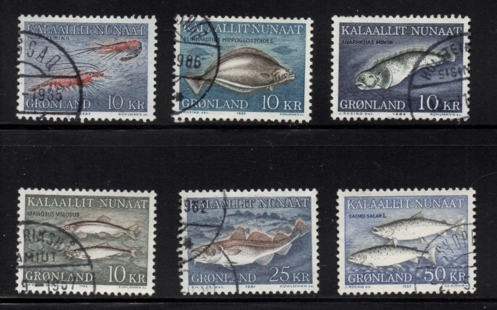 Greenland Scott  136-141 1981-86 Fish stamp set used